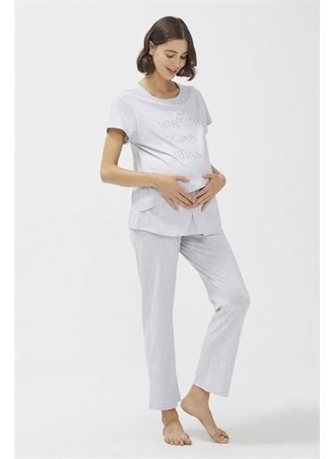 Penti Açık Gri Melanj Lilac Mommy Pijama Takımı Gri